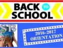 Back to School ! 2016-17 Orientation Information